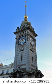 BRIGHTON, EAST SUSSEX, ENGLAND, UK - NOVEMBER 13, 2018: The Clock Tower in the center of Brighton, Brighton and Hove. The Jubilee Clock Tower is free-standing and a landmark in the seaside resort.