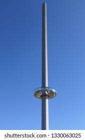 Brighton, East Sussex/England - February 24 2019 - Brighton The British Airways i360 450ft tower and glass viewing pod on a hot February day during the hottest February in the UK on record