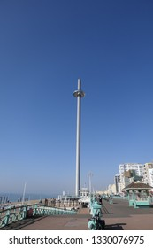 Brighton, East Sussex/England - February 27 2019 - Brighton The British Airways i360 450ft tower and glass viewing pod on a hot February day during the hottest February in the UK on record