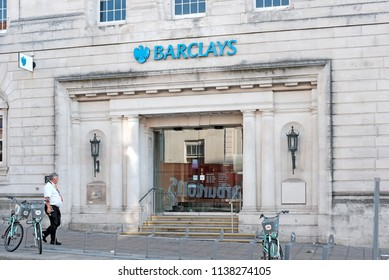 BRIGHTON, ENGLAND - JULY 9, 2018: Facade of Barclays bank branch office in North St, Brighton, UK. Barclays plc is a British multinational financial institution headquartered in London.