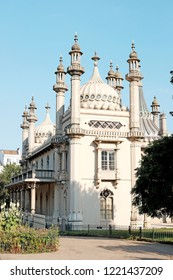 BRIGHTON, ENGLAND - JULY 9, 2018: Facade of the Brighton Pavilion in New Road, Brighton, UK. The Indo-Saracenic style building build in 1787 is a Grade I listed heritage building in UK.