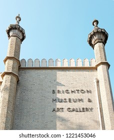 BRIGHTON, ENGLAND - JULY 9, 2018: Facade of the Brighton Museum & Art Gallery signage in Church St, Brighton, UK. The museum is a municipally-owned public museum and art gallery.