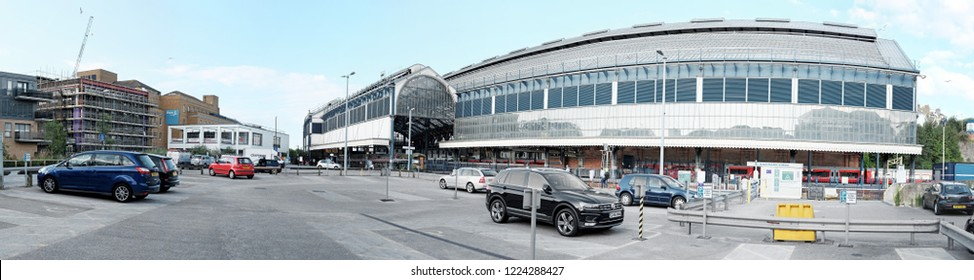 BRIGHTON, ENGLAND - JULY 9, 2018: Panoramic view of Brighton Railway Station in Queens Road, Brighton, UK. The station built in 1840 is a Grade II listed heritage building in UK.