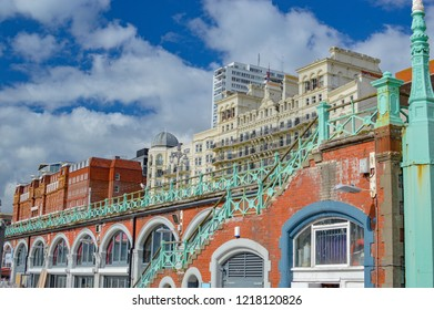 Brighton, England - March 28, 2017: view of colorful brick buildings in the commercial harbor of the city of Brighton in England