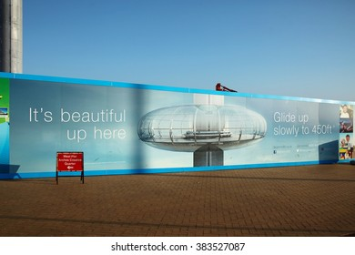 BRIGHTON ENGLAND NOV 1 :   The site hording of new viewing platform of observation tower at Brighton town represent the world tallest observation moving tower on November 1, 2015 in Brighton England.
