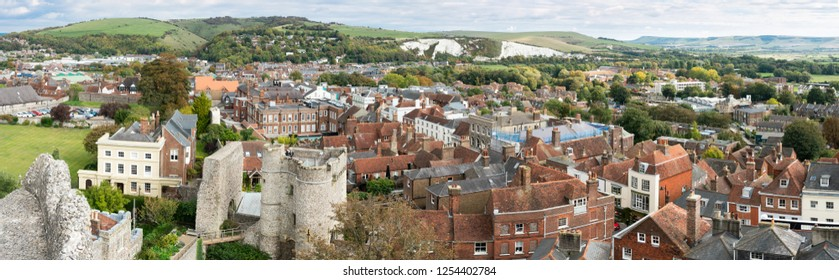 Brighton, England - October 3, 2018: England landscape panorama of Lewes Castle, East Sussex county town in topview. The old vintage historical for visitor, and traveler.