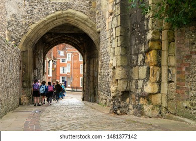 Brighton, England - October 3, 2018: The entrance, walkway and group of student at Lewes Castle & Gardens, East Sussex the old vintage historical for visit, travel, learn and sightseeing.