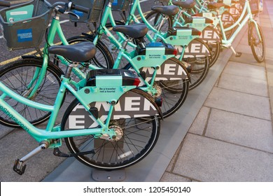 Brighton, England-1 October,2018:  Brighton & Hove's bike share scheme called SoBi smartbikes standing in bike docking service for local people and visitor.