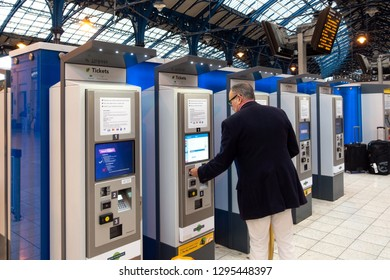 Brighton, England-18 October,2018: Train ticket machine or train ticket vending machines for self-service with on passenger at Brighton Terminal Station for traveler and passenger in London, UK.