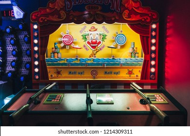 Brighton, England-2 October,2018: Classic vintage sideshow shooting gallery theme park arcade game carnival in casino game at the Hollywood Bowl Brighton Marina the place for entertainment and fun.