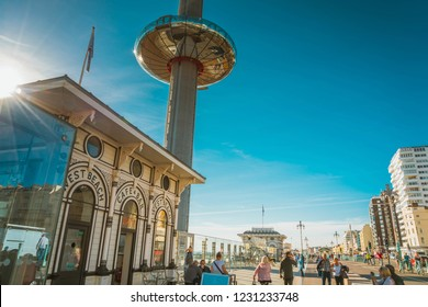 Brighton, England-6 October,2018: The British Airways i360 skyline tower is the world's tallest in the world in Brighton Pier. Glass pod and tower for sightseeing attraction at Brighton Pier, UK
