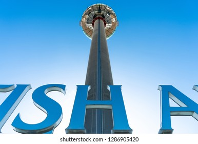 Brighton, England-6 October,2018: The British Airways i360 skyline tower  tallest in the world for sightseeing attraction designed by David Marks and Julia Barfield at Brighton Pier, UK.