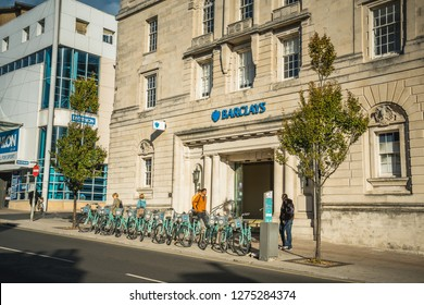 Brighton, England-6 October,2018: The front of Barclays Bank branch office in Brighton city center with local people walking on footpath at North St.Brighton, UK.