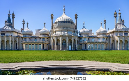 Brighton, Great Britain - July 05, 2017. The Royal Pavilion in East Sussex (Brighton) built from 1815-1822 in Indian style was seaside retreat for George, Prince of Wales. Today it's a museum.