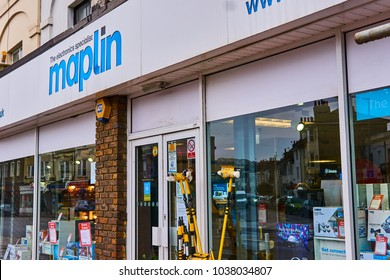Brighton and Hove, East Sussex England March 4th 2018 Maplin shop has gone into administration and is trying to sell all their stock at reduced prices selling electrical goods and PC components