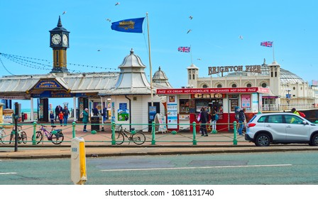Brighton and Hove East Sussex England May 1st 2018    The entrance to Brighton pier, also called palace pier it sees millions of tourists every year and has restaurants and fun
