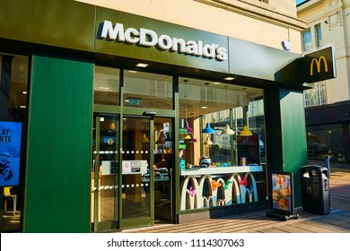 Brighton and Hove, East Sussex, England UK June 1st 2018  McDonald's in Western road Brighton  showing shop front and signs, popular fast food chain world wide