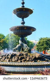 Brighton and Hove, East Sussex, England September 1st 2018 The Old Steine gardens and fountain in central Brighton  made 1874