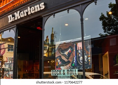 Brighton and Hove, East Sussex, England,UK September 3rd 2018    Dr Martens Boots, Brighton flagship store in the lanes selling the iconic Dr Martens Boots