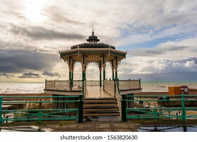 Brighton and Hove, East Sussex, UK - November 4, 2019: The Victorian bandstand near the beach in Brighton, UK.