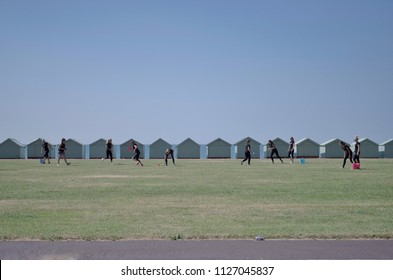 Brighton and Hove, UK - July 2018: People activities on Hove lawn in front of beach huts by Brighton seafront