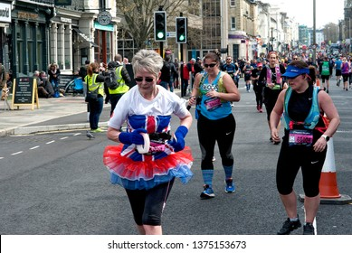 Brighton Marathon, Brighton and Hove, England, April 2019. Runners in the Brighton Marathon, many of whom are raising money for worthwhile causes and charities.