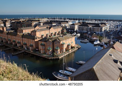 Brighton marina in england. port in sussex with homes and yacht. modern houses on the water