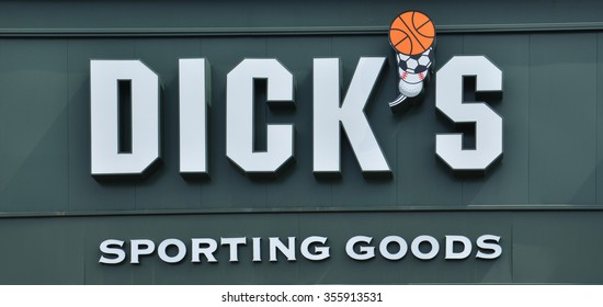 BRIGHTON, MI - AUGUST 22: Dick's Sporting Goods, whose Brighton, MI store logo is shown August 22, 2015,