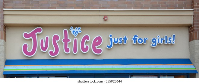BRIGHTON, MI - AUGUST 22: Justice, whose Brighton, MI store logo is shown August 22, 2015, has over 900 stores.