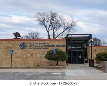 Brighton, Michigan, United States - March 8, 2021: City of Brighton City Hall and Customer Services 200 North First Street, City Hall building right by Mill Pond Park and Brighton Mill Pond