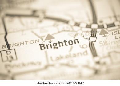 Brighton. Michigan. USA on a geography map.