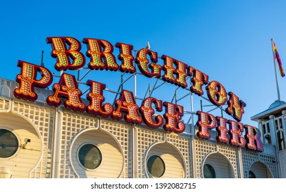 Brighton Palace Pier sign, East Sussex, England, United Kingdom, Europe