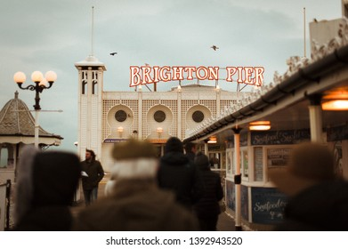 Brighton Pier, Brighton and Hove, Sussex, UK, March 18.2018. The Brighton Pier, also known as the Palace Pier, is a Grade 2 listed pleasure pier in Brighton, England that first opened in 1899. - Image