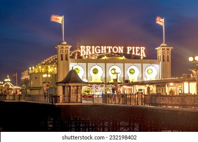 Brighton Pier at Night, Sussex, England, UK