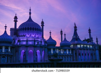 Brighton Royal Pavilion at sunset, Brighton and Hove, UK