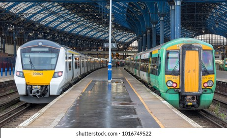 Brighton Station, Sussex, UK; 4th February 2018; Southern Rail and Thameslink Trains at Adjacent Platforms