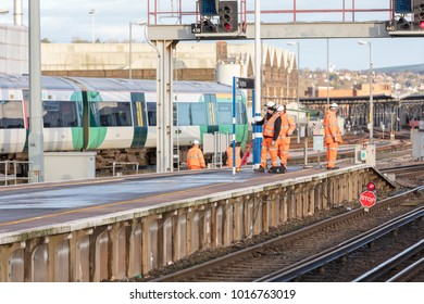 Brighton Station, Sussex, UK; 4th February 2018; Group of Rail Workers in High Viz Clothing