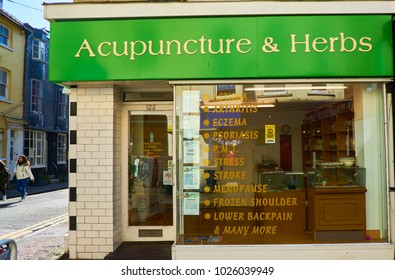 Brighton, Sussex, England, February 16th 2018 Chinese Herbal Medicine and acupuncture shop selling herbs and Chinese traditional herbs and powders offering help for many ailments
