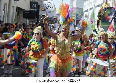 Brighton , Sussex , UK , 11th , August, 2015: Brighton Gay Pride festival. Dancing man in festival drag.