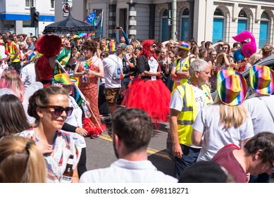 Brighton , Sussex , UK , 5th , August, 2017: Brighton Gay Pride festival. Crowd of people celebrating on the street
