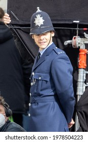 Brighton, Sussex  UK: May 10th 2021:  Harry Styles is spotted filming scenes for movie My Policeman on the streets of Brighton