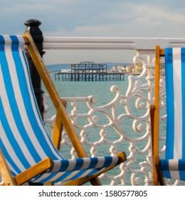 Brighton, Sussex, UK - Nov 12 2019 - West Pier framed by fencing