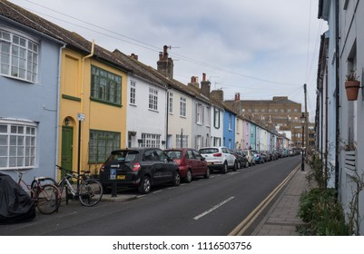 Brighton, Sussex, United Kingdom. May, 08, 2017. A street of colorful houses in the old town center.