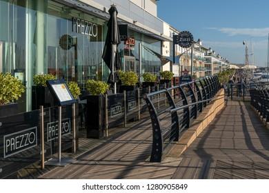 BRIGHTON, SUSSEX/UK - JANUARY 8 : View of restaurants in the Marina at Brighton Sussex on January 8, 2019. Unidentified people