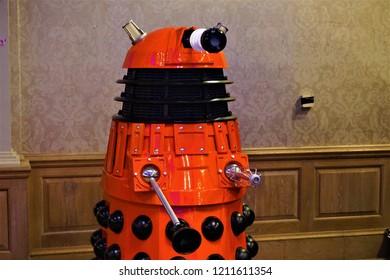 Brighton, UK - April 09 2018: Brighton Beach Comic Con Dalek
