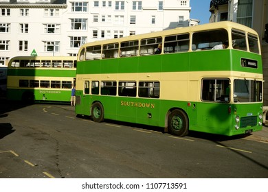BRIGHTON, UK - AUGUST 10: Classic Southdown buses in Poole Valley Bus Station wating to give free rides on the occasion of the annual vintage bus display