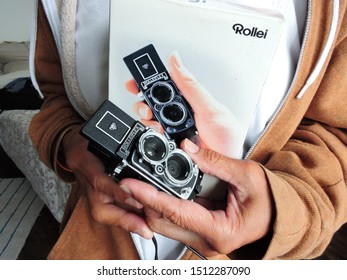 Brighton UK - August 2019 Rollei minidigi very small twin lens digital camera with waist level view finder