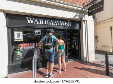 Brighton / UK - August 25th 2019 - Warhammer shop front. Warhammer is a retailer of fantasy board games, also selling miniatures for painting