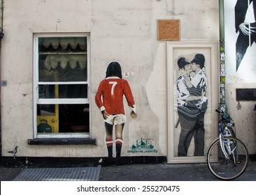 BRIGHTON, UK / CIRCA AUGUST 2014 - Impressive graffiti made by unknown artist seen on Street public gallery