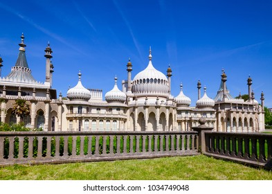 BRIGHTON, UK - JUN 5, 2013: Front view of the Royal Pavilion aka Brighton Pavilion, former royal residence built in the Indo-Saracenic style